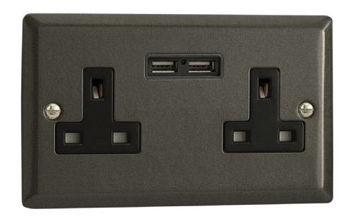 Varilight XP5U2B Classic Graphite 21 2 Gang Double 13A Unswitched Plug Socket 2.1A USB